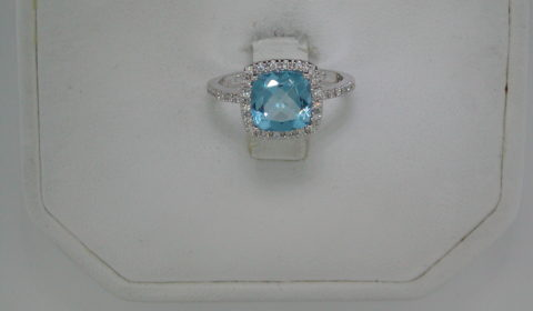 2.42ct blue topaz ladies ring in 14kt white gold with 32 diamonds =.13ct  style 223-0158 $1050.00