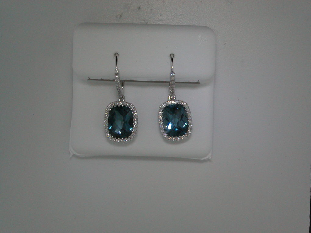 4.53ct london blue topaz dangle earrings set in 14kt white gold with 72 diamonds =.22ct  style 223-0165  $2850.00