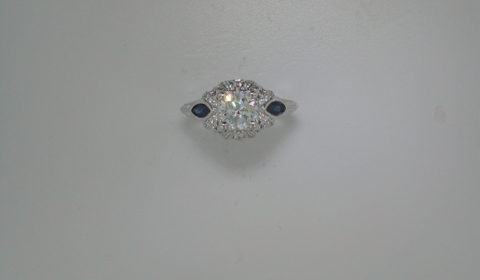 Semi-mount engagement ring with sapphires =.40ct  style ER12583R4ALZ28 $2350.00