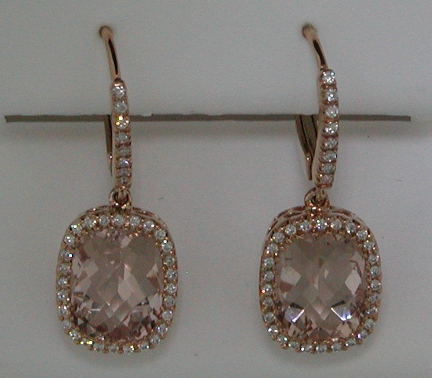 4.24ct morganite dangle earrings in 18kt rose gold with 72 diamonds =.22ct  Style 223-0202 $3150.00