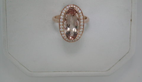 4.50ct morganite ring in 18kt rose gold with 32 diamonds =.32ct Style 223-0203 $3750.00