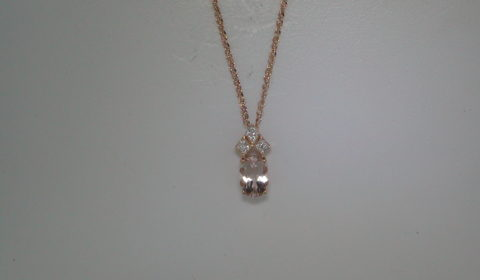 .67ct morganite pendant in 14kt rose gold with diamonds =.02ct with 16in chain Style 223-0208 $462.50