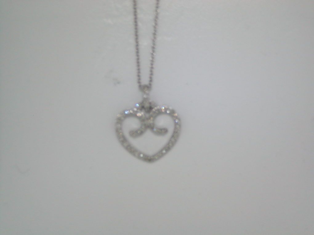 Heart pendant set in 14kt white gold with 50 diamonds =.30ct with a 16in cable chain style 700-0226 $695.00