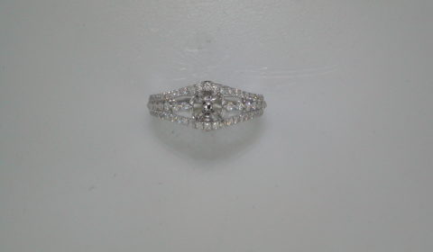 Semi-mount wedding ring set in 14kt white gold with 62 diamonds =.50ct style 700-0303 $2400.00