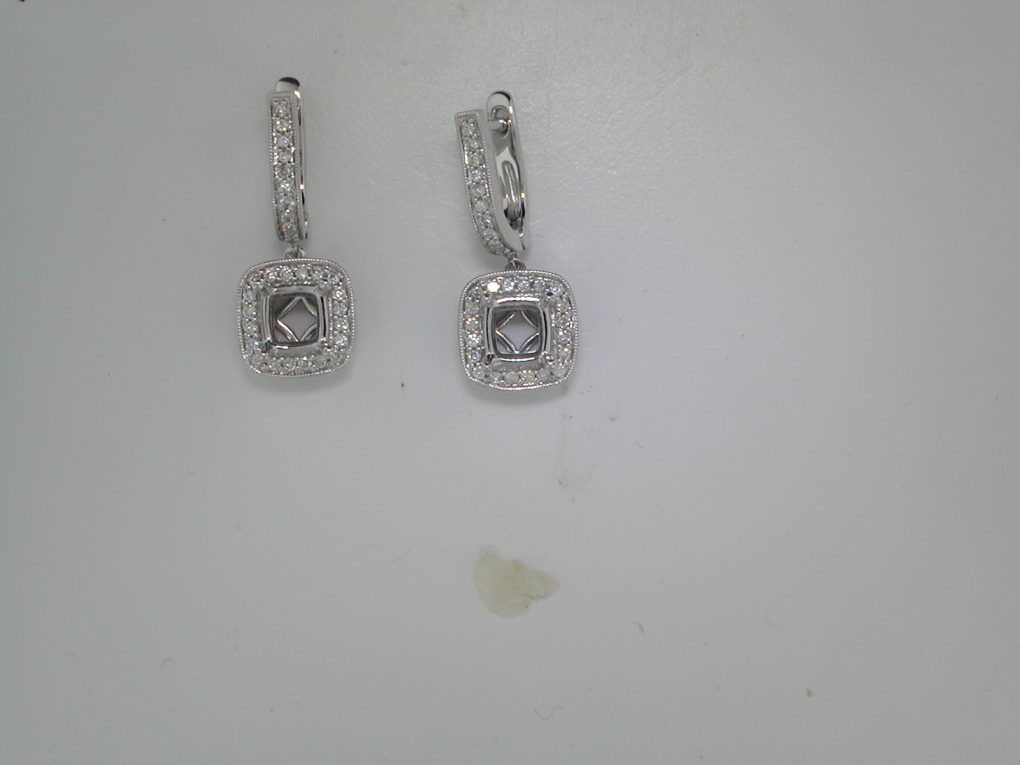 semi-mount dangle earrings set in 14kt white gold with 100 diamonds =.75ct  style 900-0388 $2500.00