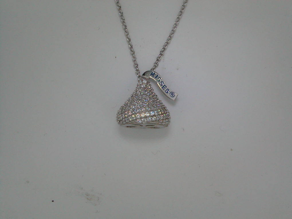 Cubic Zirconia Hersheys Kiss necklace 12X13mm in sterling silver with 18in chain Style 900-0424 $80.00