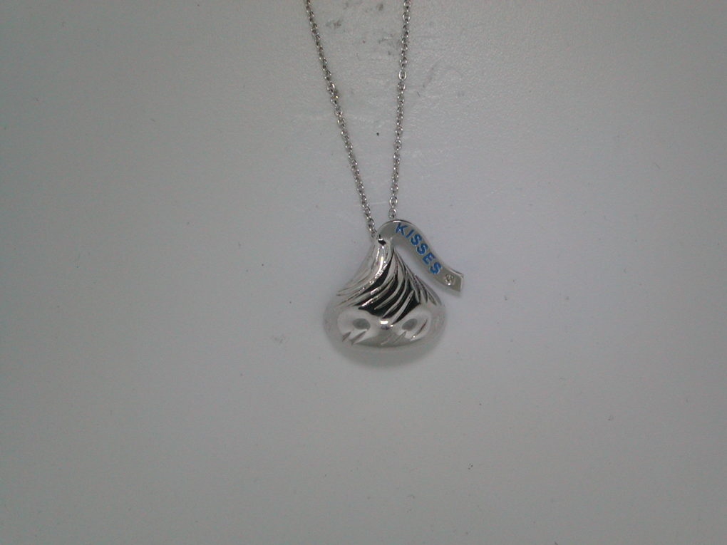Hershey's Kiss necklace with one cubic zirconia 16X15mm in sterling silver with 18in chain.  Style 900-0428 $80.00