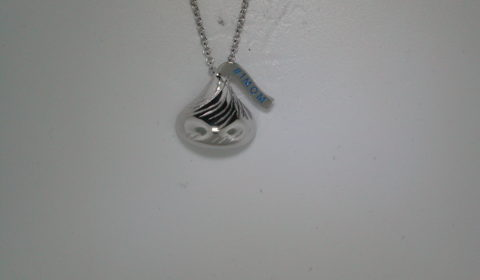 Hershey's Kiss necklace #1 Mom 16X15mm in sterling silver with 18in chain. Style 900-0483