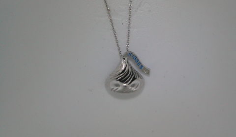 Hershey's Kiss necklace with one cubic zirconia 16X15mm set in sterling silver with an 18in chain  style 900-0486 $80.00
