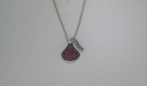 Red cubic zirconia Hershey's Kiss necklace 10X13mm sterling silver with 18in chain.  Style 900-0493 $100.00