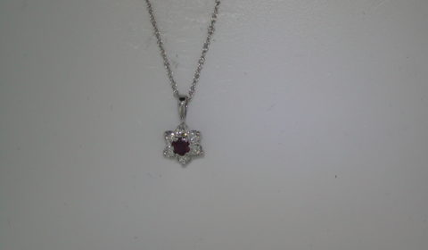 .25ct ruby pendant set in 14kt white gold with 6 round diamonds =.30ct with 18in chain  style 750-0540  $1000.00