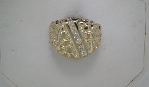 Gents nugget ring set in 14kt yellow gold with 6 diamonds =.35ct style 750-0573 $2100.00