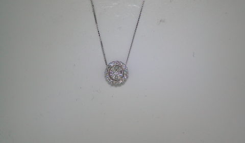 Halo style pendant with 14kt yellow gold with 19 diamonds =.10ct with 16in chain  style 200-0615 $600.00