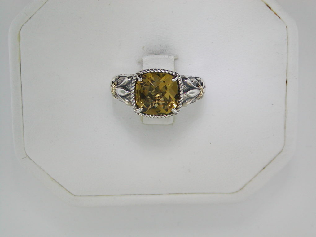 Whiskey quartz ring set in sterling silver and 14kt yellow gold  style 800-1126 $125.00