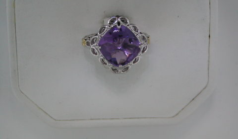 Amethyst ladies ring set in sterling silver and 14kt yellow gold style 800-1227 $250.00