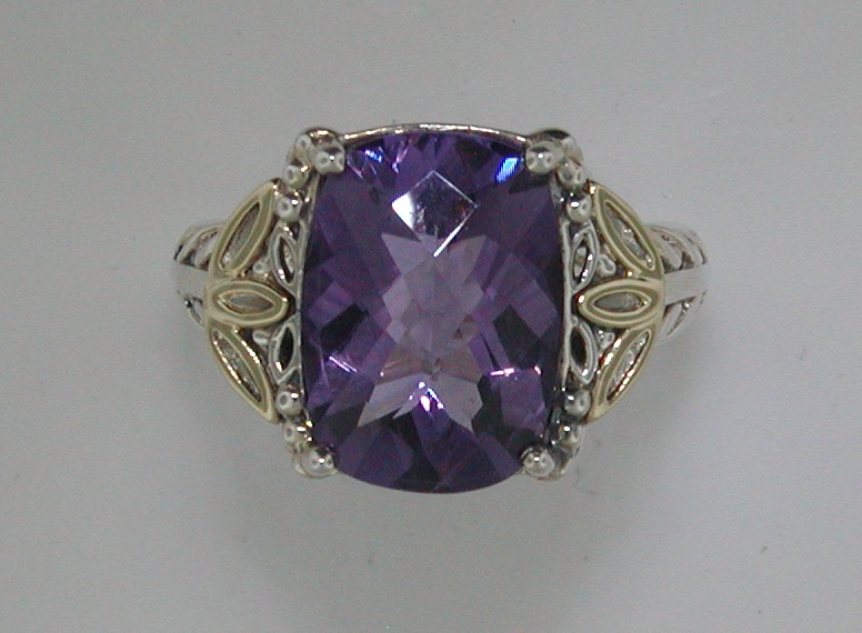 6.36ct amethyst ladies ring set in sterling silver and 14kt yellow gold style QTC684  $300.00