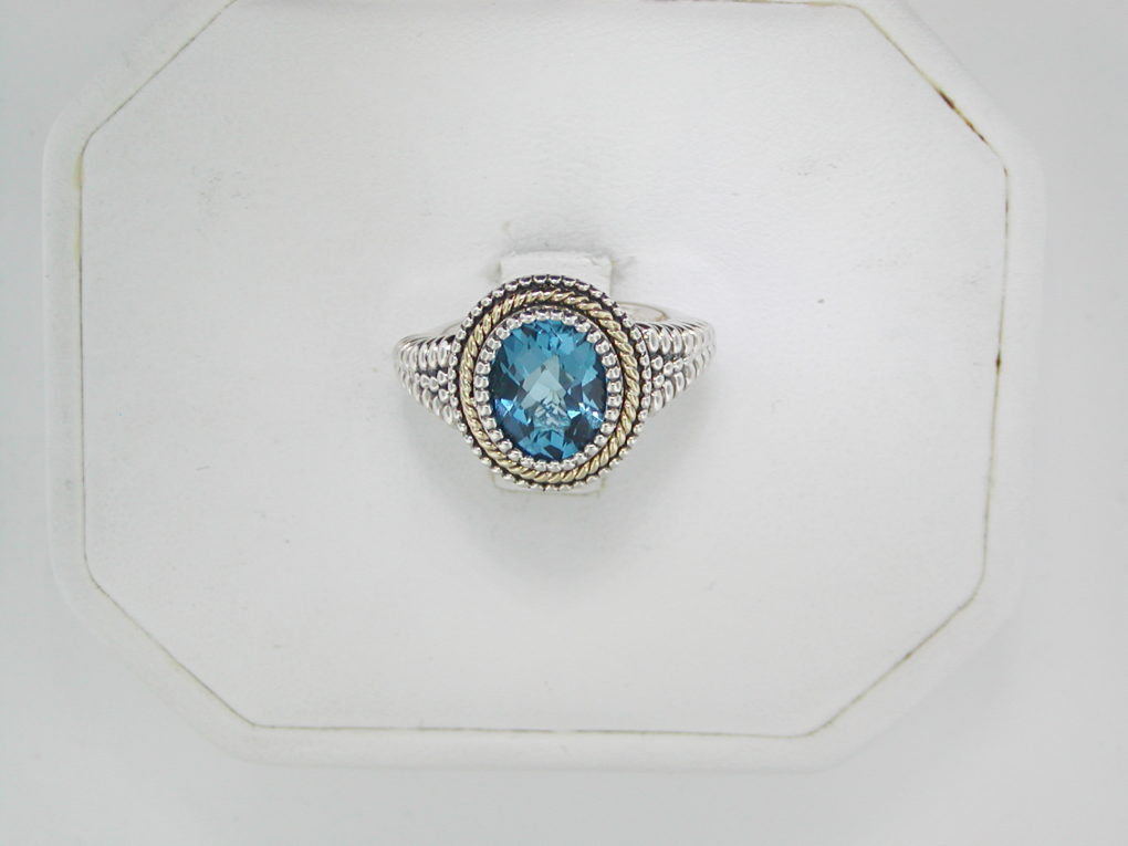 Blue topaz ladies ring set in sterling silver style QTC747 $175.00