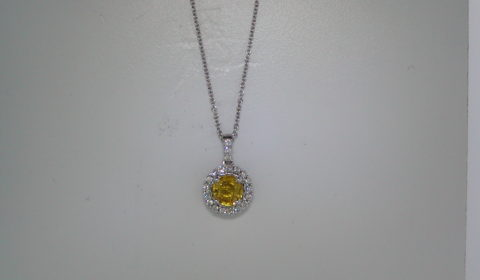 1.03ct yellow sapphire ladies pendant set in 18kt white gold with 20 diamonds =.27ct  style 500-2180 $2600.00