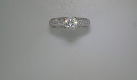 Cubic zirconia semi-mount wedding ring set in 18kt white gold with 64 diamonds =.92ct style 500-2224 $3950.00
