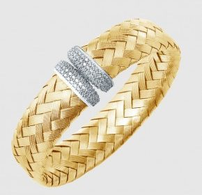 16mm pave cubic zirconia oval cuff bracelet in sterling silver with 18kt gold plate.  Style 224-0032.  $575.00