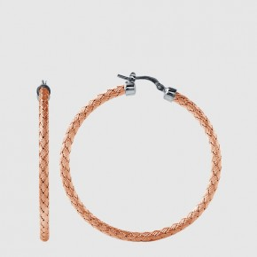 45mm loop earrings in sterling silver and 18kt rose gold finish woven style milan.  Style 224-0044.  $165.00
