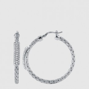 35mm nardini woven loop earrings with cubic zirconia set in sterling silver.  Style 224-0101.  $195.00