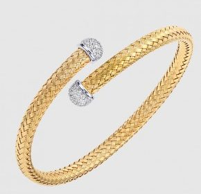 6mm cubic zirconia cap bypass cuff bracelet in sterling silver and 18kt yellow gold.  Style 224-0130.  $395.00