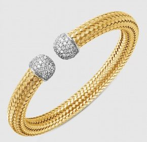 8mm cubic zirconia cuff bracelet in sterling silver and 18kt yellow gold finish.  Style 224-0131.  $495.00