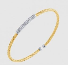 3mm nardini woven skinny flexible oval cuff bracelet with cubic zirconia in sterling silver and 18kt yellow gold.  Style 224-0146.  $195.00