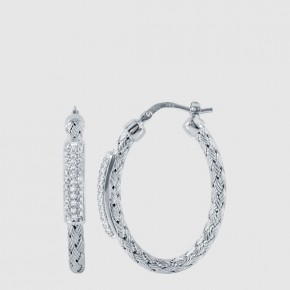 35mm oval woven nardini loop earrings with cubic zirconia set in sterling silver.  Style 224-0149.  $ 175.00