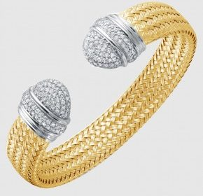 12mm cubic zirconiz cuff bracelet in sterling silver and 18kt yellow gold finish  style 224-0140  $550.00
