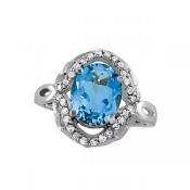 Blue topaz oval ladies ring set in sterling silver with 28 diamonds =.20ct  style 720-0158 $750.00