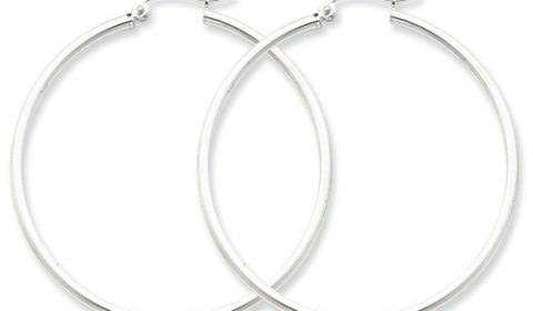 2mm hoop earrings 45mm diameter in sterling silver  style 800-0397  $40.00