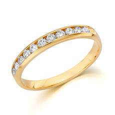 Anniversary ring in 14kt yellow gold with 11 diamonds =.33ct  style 200-0652  $1000.00
