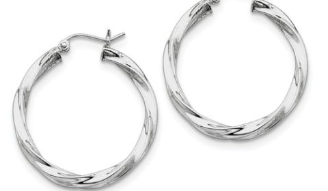 3mm hoop earrings 30mm diameter in sterling silver style 800-1213 $42.50