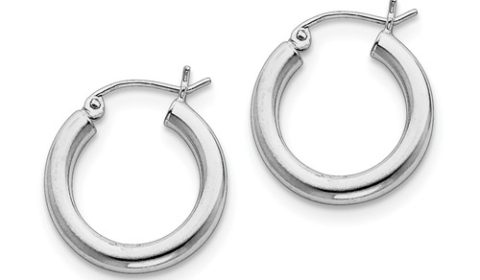 3mm polished loop earrings in sterling silver 20mm diameter style 800-1628 $22.50