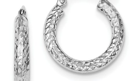 3mm diamond cut loop earrings in sterling silver 20mm diameter style 800-1629 $25.00