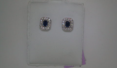 Sapphire earrings =.66ct set in 14kt white gold with 28 diamonds =.32ct  Style ER103866  $675.00
