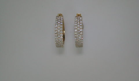 3 row loop diamond earrings set in 14kt yellow gold with 102 diamonds =1.15ct  Style 416-0002  $2950.00