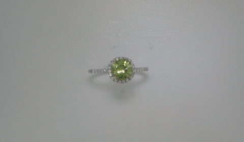 1.40ct Tourmaline ring set in 14kt white gold with 33 diamonds =.29ct Style 910-0022 $1200.00