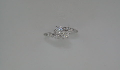 .47ct G-SI 2 stone ring in 14kt white gold with 24 diamonds =.16ct Style 720-0165 $1950.00