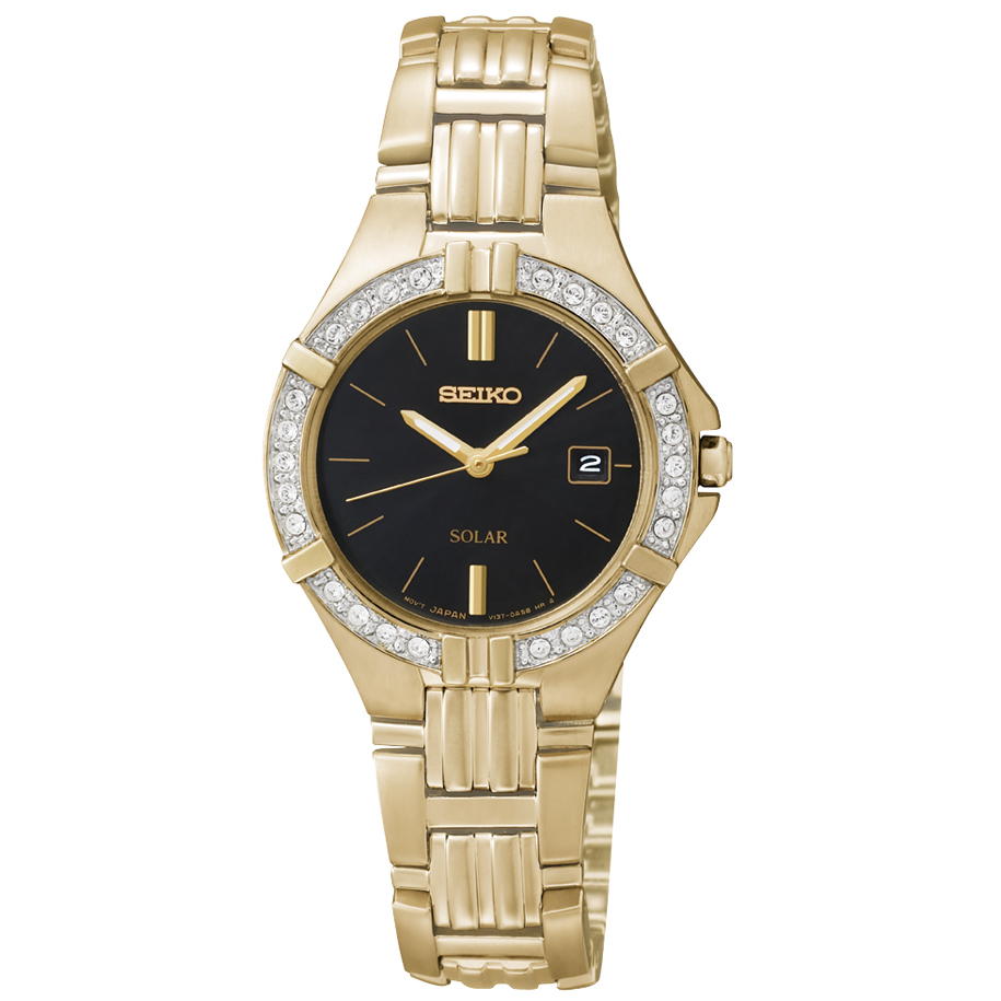Ladies solar seiko watch in yellow with a swarovski crystal bezel and black dial Style 850-0308 $295.00