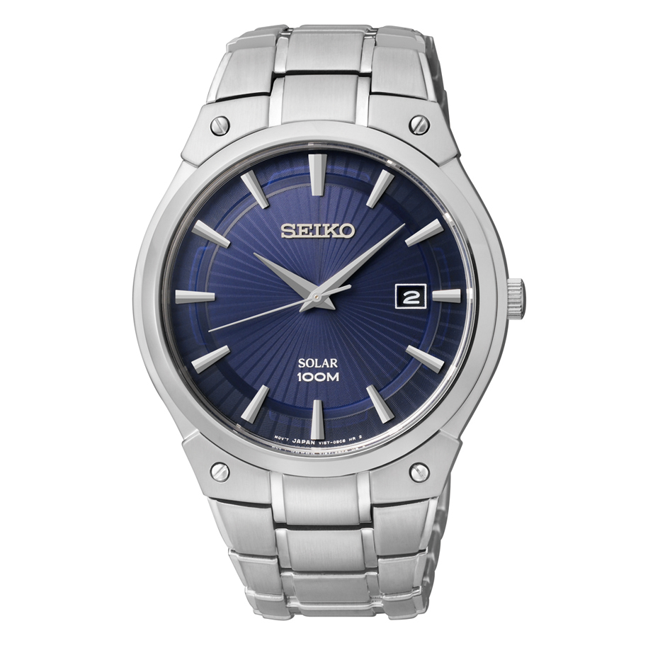 Gents solar stainless steel seiko watch 100 meter blue dial watch  Style 850-0333  $235.00