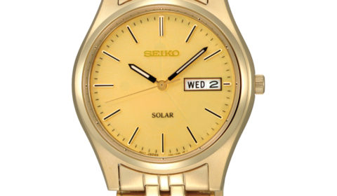Gents solar seiko quartz watch in yellow with gold dial  Style 850-0344 $205.00