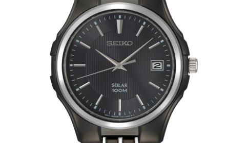 Gents solar black dial seiko quartz watch with black and stainless steel case and band  Style 850-0345  $285.00