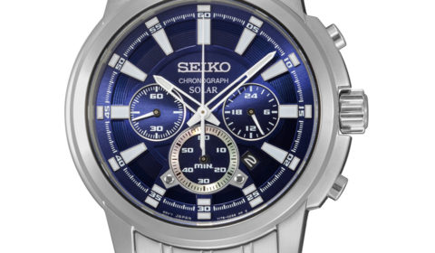 Gents solar Seiko Quartz chronograph stainless steel blue dial watch style 850-0346  $350.00