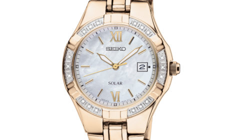 Ladies solar diamond bezel seiko watch in yellow with mother of pearl dial  Style 850-0348  $425.00