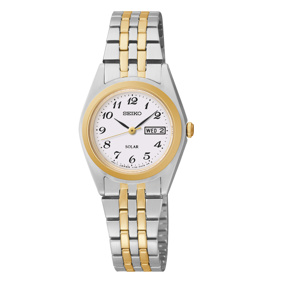 Ladies solar two tone band seiko watch with white dial showing day and date Style 850-0351  $205.00