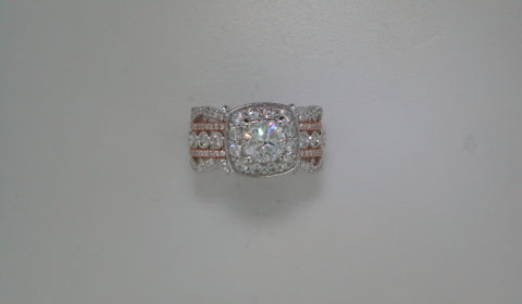 Semi ladies ring in two tone white and rose gold with diamonds =1.20ct  Style 405-0258  $5100.00