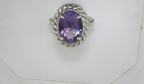 5.75ct amethyst ring in sterling silver and 14kt yellow gold  Style 800-1826  $250.00